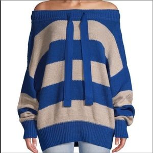 Free People Off The Shoulder Striped Sweater
